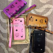 Luxury brand MCM phone Handbag cards slot mirror leather Case for iphone 5 5s 5c