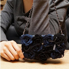 Luxury 3D MR.H Full Roses Leather Flip Wallet for Samsung S3 S4 S5 Note2 Note3 Lady Chain Bag With Card Slot