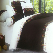 Single/Double/Queen/bedding set/Duvet cover set/Assorted embroidery/Black white/Cotton