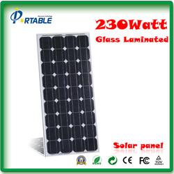 230W solar panel glass laminated monocrystalline silicon cells 18v