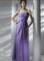 2014 nova barato roxo da dama de honra vestidos plissar corpete com feito à mão flor Organza andar de comprimento bainha vestidos formais vestidos