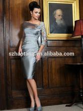 HT2237 elegant silver gray tea length mother of the bride dresses plus size mother of the bride dresses