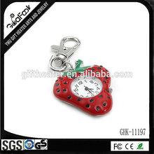 custom personalized strawberry keychain with clock