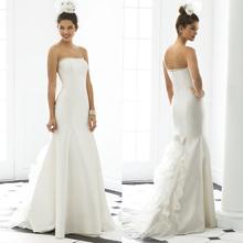 White well design simple style sleeveless arabic wedding dress 2014 with short tail Rolanca CXC1002