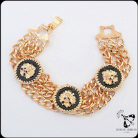 Top selling silver and gold plating chain bracelet lion head bangle bracelet