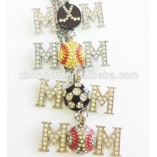 Sport ball MOM baseball ,football ,diamond pendant necklace