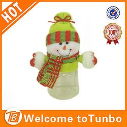 Snowman cute plastic decorations christmas mini candy jar