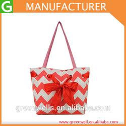 2014 Summer Fashion Women Handbag,Lady Bowknot Stripe Canvas Leisure Tote Shoulder Bag Purse, New Chevron Beach Bag Big