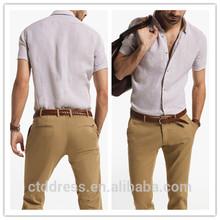 Caliente 2014 100% con estilo de algodón camisa de lino blanco