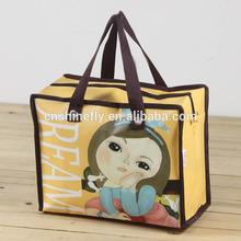 cartoon picture pp non woven zipper shopping bag