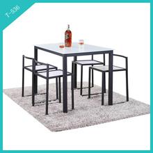 Modern Rectangular Glass Top Metal Base Dining Table