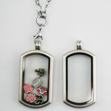 316l stainless steel glass locket ,floating locket charms