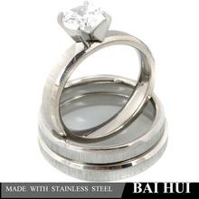silver men band ring women cut crystal wedding ring couple jewelry set