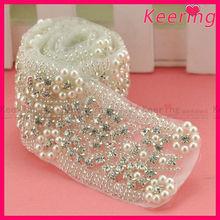 fashion wholesale bridal sash belt pearl and rhinestone applique trim wedding dress accessories
