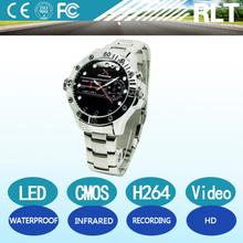YSJ-W-A02 H264 HD 720p waterproof night vision watch hidden camera with TF card / mini digital watch camera /watch spy camera