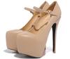Nude PU women high heels lady high heels size 42 43 44 45 women shoes