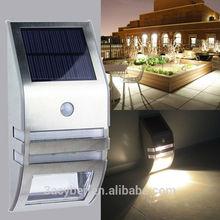 Stainless Steel Solar Power Panel Motion Sensor LED Garden Light/Wall Path PIR Lamp Super Bright