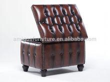 Genuine leather storage ottoman