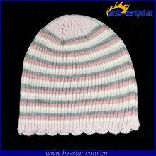 HZM-13385 2015 New Design Winter Warm stripe chirsmas Lace kids lovely hats