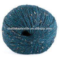2014 Best selling fancy blended merino alpaca wool yarn with deep blue green color