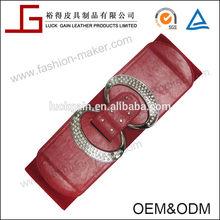 Fashion Red Elastic Belt Silver Buckle Set