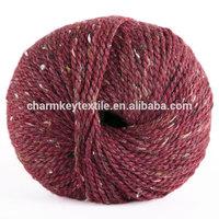 2014 Best selling fancy blended merino alpaca wool yarn with reddish maroon color