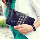 Women Korean Style PU Leather Handbag Rivet Lady Clutch Purse Wallet