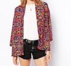 2014 cute kimono made from a woven poly fabric and printed finish