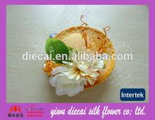 Natutal feel silk flower decorative mini hat hair ornaments