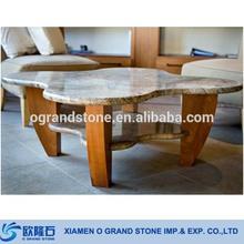 Modern Creative Wood Legs Marble Top Coffee Table