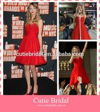 2014 New Red Spaghetti Strap Princess dress with Mini chiffon Sleeveless Ruffle Celebrity Gown