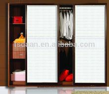 2 door modern white wooden wardrobe with sliding door