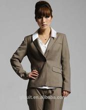 T/R brown color notch lapel ladies office wear clothing