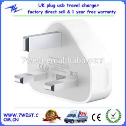 5V 1000mA Output White UK Plug Micro Usb Travel / Wall Charger