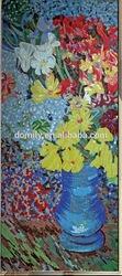 2014 mosaic flower pattern design glass tile mosaic mural LJL600
