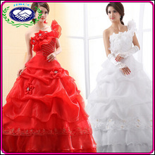 Off the shoulder floor length women wedding dress