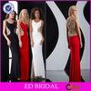 EDE278 New Design Elegant Crystal Back Floor Length Black and Red Evening Dress