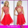 EDE280 Attractive Bling Crystal Jewel Neck Keyhole Back Evening Dress Red Short