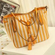 BV3087 2014 new Korean casual striped canvas bag tassel bag ladies fashion women handbags shoulder messenger bag