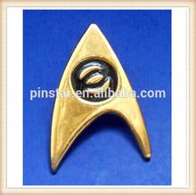 2014 New Custom Metal Star Trek Original Series Metal Fold Tone Gold Plated Enamel Sciences Division Insignia Badge Pin