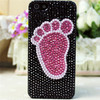 Newest Full Pearl!! For iphone 5 5S Lovely Foot pattern Diamond Case Cover
