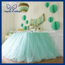SK005E New arrival fancy beautiful light green bridal ruffled wedding tulle mint green table skirt