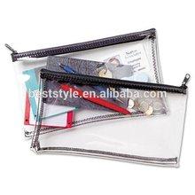 Crystal Clear PVC Zipper Plastic Stationery Pen Bag