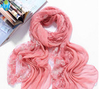 Factory Stocks Pearl lace Long Patchwork Scarf Shawl, Can wear as a Hijab, Stock Many colors Wholesale Price