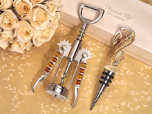 Murano Swirl Gold and White Bottle Stopper and Opener Set