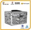 Professional zebra aluminum cosmetic case with combination lock