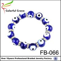 New tennis blue colored glaze elastic nazar bracelet for men