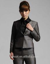 T/R Dark grey color peak lapel ladies office uniform design