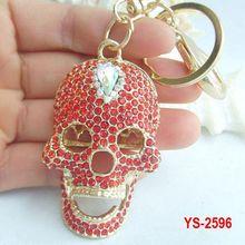 YS-2596 Unique Red Rhinestone Crystal Halloween Skull KeyChain Pendant