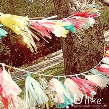 Garden party Tassel Garland- Birthday Party - Wedding - Baby Shower -Birthday- Nursery-Tissue Paper Tassel Garland Kit